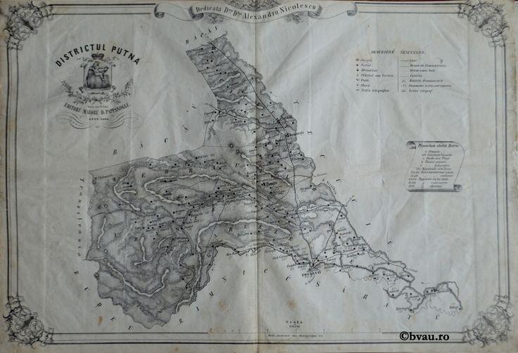 """Districtul Putna, întocmit şi editat de Maior D. Pappasoglu, 1865. Imagine din colecțiile Bibliotecii """"V.A. Urechia"""" Galați."""