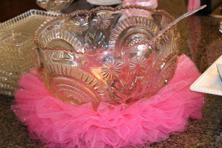 girl baby shower ideas - tutu around punch bowl