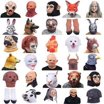 Latex Animal Head Full Overhead Cosplay Masquerade Fancy Dress Up Carnival Mask&