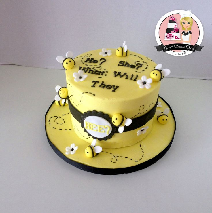 Baby Shower Cake What Will They BEE Twin Gender Reveal