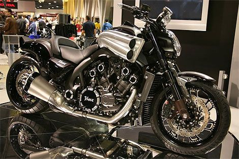 2012 Yamaha Vmax and in all black--sweet.  Ugh, so damn cool!