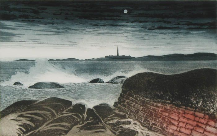 FORTRESS OF LOUISBURG, CAPE BRETON (1973) etching and aquatint on wove paper edition A/P 19.75 x 31.75 in.