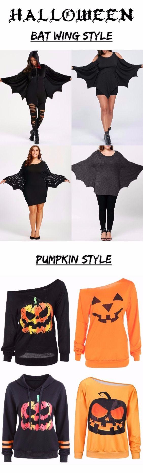 Halloween women outfits - bat wing tops & pumpkin sweatshirts