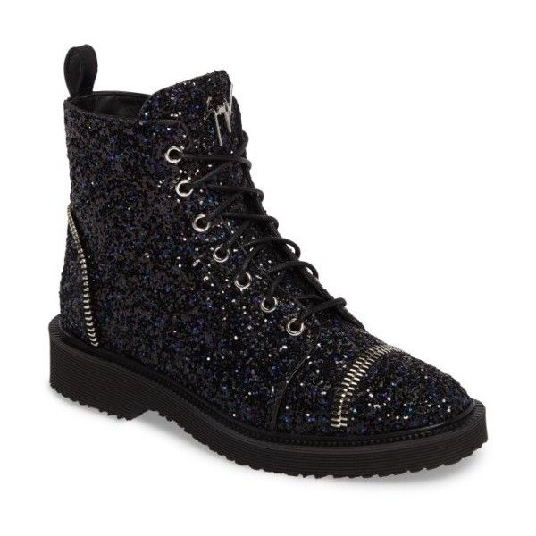 Women's Giuseppe Zanotti Glitter Combat Boot (4,220 SAR) ❤ liked on Polyvore featuring shoes, boots, black, black army boots, combat booties, kohl shoes, combat boots and black military boots