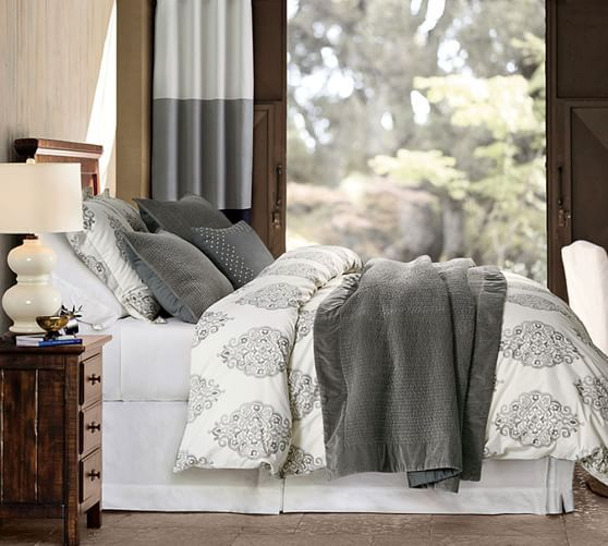 Asher Medallion Organic Percale Duvet Cover Amp Sham Gray