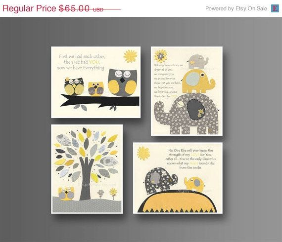 Kids Wall Art Nursery Decor // Baby Boy Room Art // Set Of 4 Prints //  Nursery Wall Art Decor // Yellow Gray // Elephant, Nursery Print