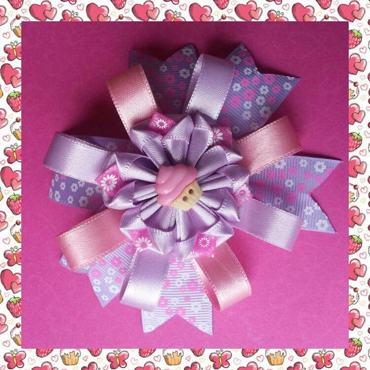 Lazo rosa violeta combinación hermosa totalmente en cinta