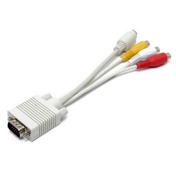 "20cm PC VGA SVGA To S Video 3 RCA Composite HD AV TV Out Converter Adapter Cable  Specifications: Cable color: White Length: Approx.20cm/7.9"" Material: Pure Copper + PVC Connectors: 1 * Standard VGA connector 15-pin male 1 * S-Video mini 4-pin female 3 * RCA jack female (yellow plug for..."