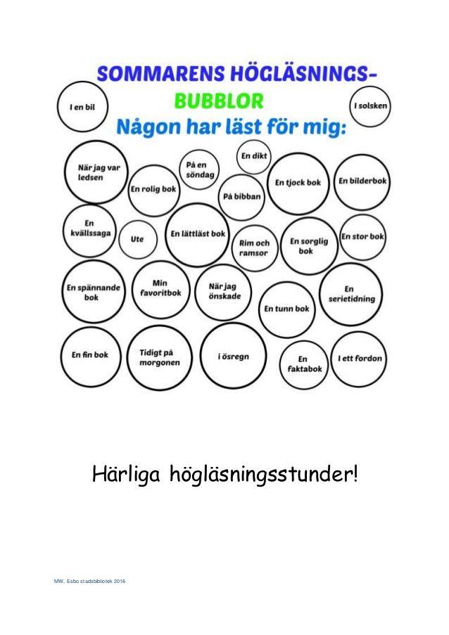 MW, Esbo stadsbibliotek 2016 Härliga högläsningsstunder!