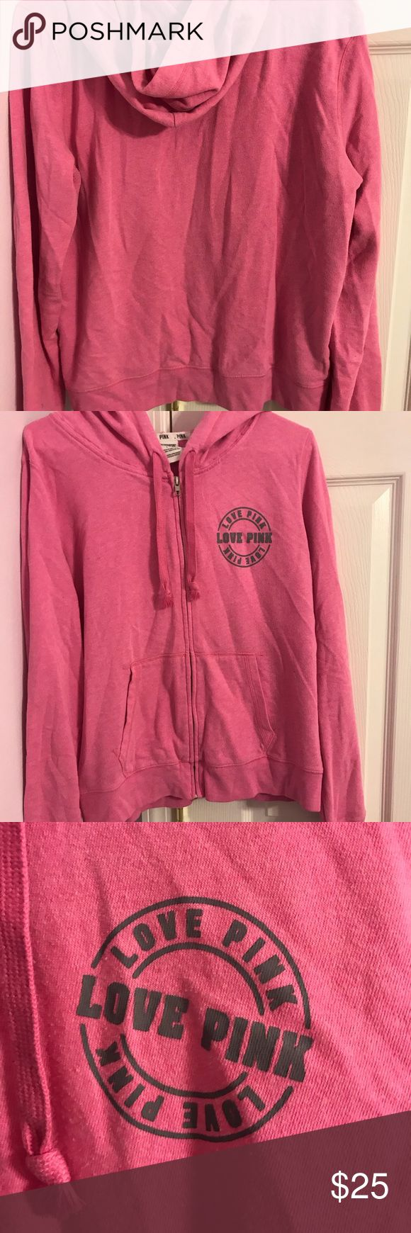PINK zip up sweater PINK pink zip-up with dark gray writing, no signs of wear great condition worn very lightly , the wrinkles will be taken out before shipping, bundle to save or make an offer! PINK Tops Sweatshirts & Hoodies