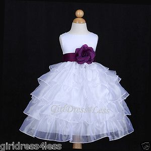Dark Purple Bridesmaid Dresses | White Plum Dark Purple Organza Wedding Flower Girl Dress 12M 18M 24M 2 ...