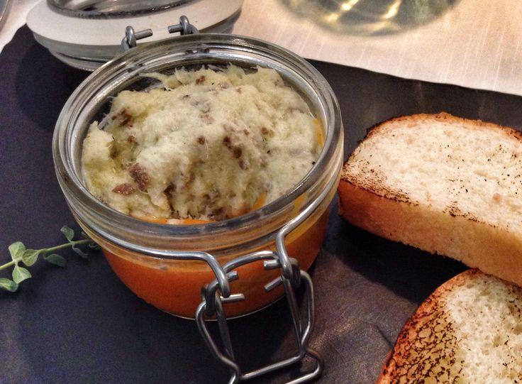 Baccalà mantecato con tartufi neri e crema i zucca (Codfish and black truffles with pumpkin cream) - Le Nuvole, Ferrara