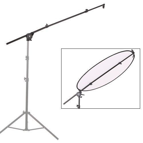 Extendable Photo Studio Photography Reflector Diffuser Holder Stand Boom Arm Support  withClip Flexible Swivel Grip Head Clamp