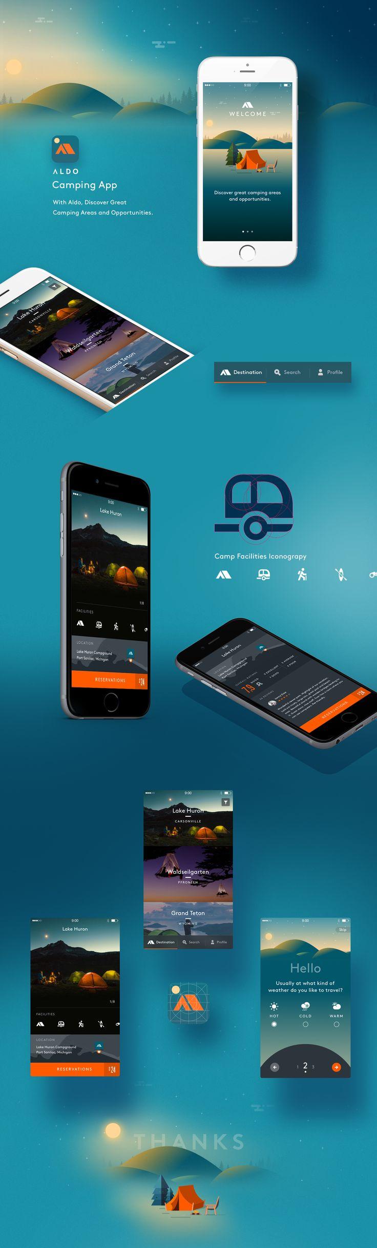 Bekijk dit @Behance-project: \u201cCamping App\u201d https://www.behance.net/gallery/36177587/Camping-App