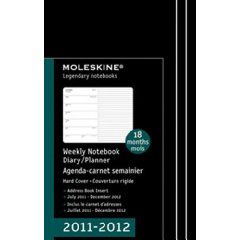 Moleskine 2012 18 Month Weekly Notebook Black Hard Cover Large