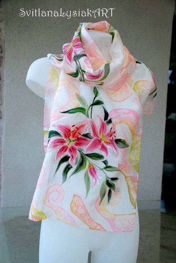 Lily Silk Scarf Silk Hand Painted Scarf Summer Silk Scarves Handpainted Silk Scarf Silk Accessories Blue Silk Scarf Floral Scarf