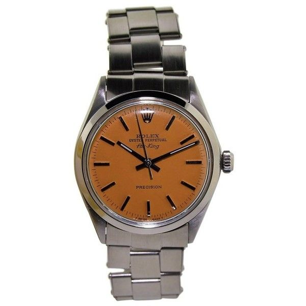 Preowned Rolex Air King Stainless Steel Custom Orange Dial Perpetual... ($4,000) ❤ liked on Polyvore featuring jewelry, watches, orange, wrist watches, stainless steel jewellery, orange jewelry, pre owned jewelry, preowned jewelry and pre owned watches
