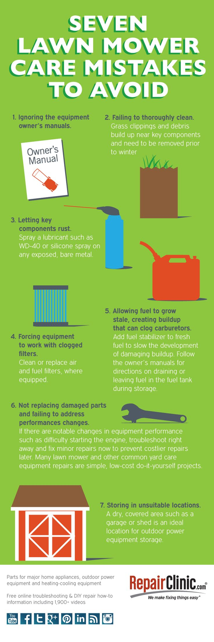 #Infographic - 7 lawnmower care mistakes that can kill your lawn mower and outdoor power equipment. #lawncare #lawnmower More at http://DIY.RepairClinic.com