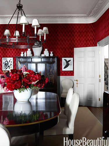 Walls covered in Lee Jofa's Holland Flamestitch velvet make for a showstopping yet intimate dining room in a London townhouse .Decor, Dining Rooms, House Beautiful, Red Wall, Interiors Design, Diningroom, London Townhouse, Red Room, Dining Room Wall