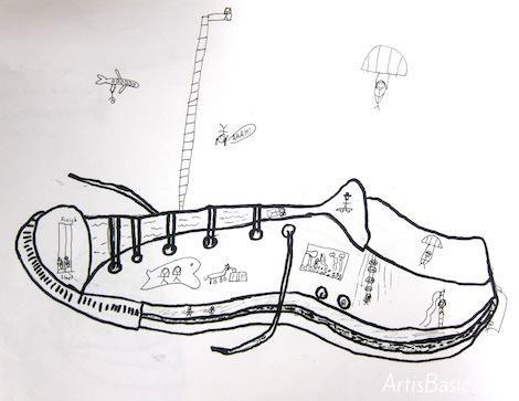 3rd grade contour shoe drawings