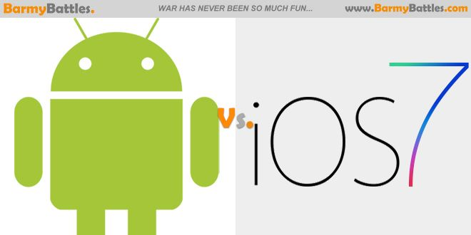 Many would give Android 4.4 their thumbs-up, while others are really into Apple's iOS 7. #Android #iOS7 #Celphone #apple CLICK HERE TO VOTE: http://www.barmybattles.com/2014/01/22/android-vs-ios/