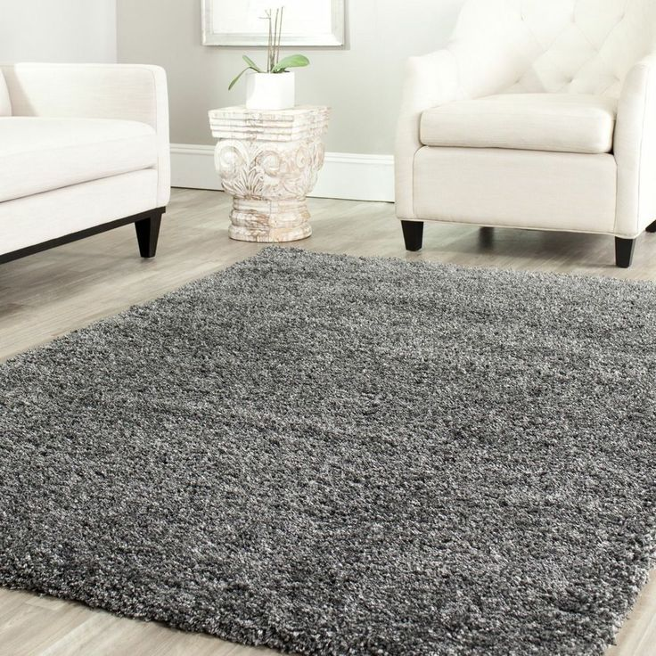 Cozy Casual Soft Shag Area Rug Solid Dark Grey Mat Carpet Sale Modern Rugs Jute