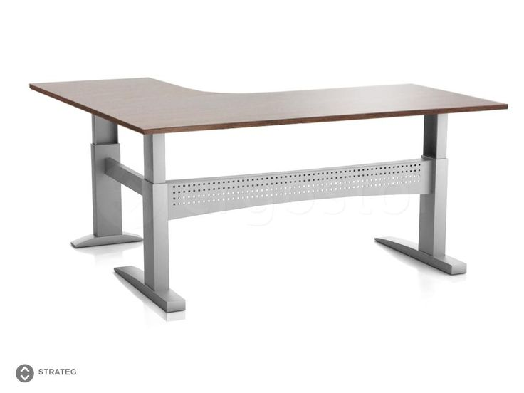 Угловой стол ErgoStol Strateg на трех опорах для работы стоя и сидя
