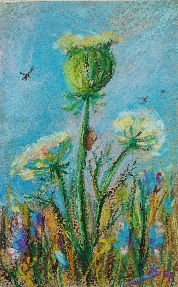 """Meadow: The shame"" Original pastel painting by Liudmila Suhorucova (9x14cm)"