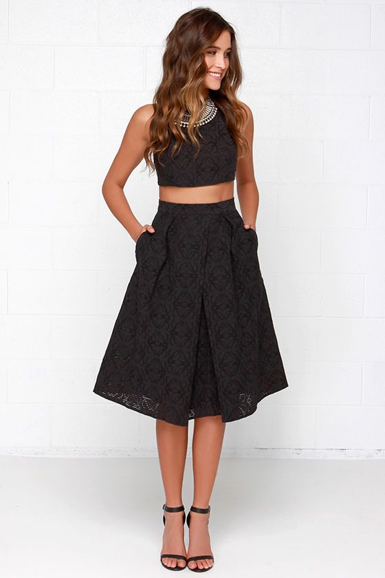 black crop top with black a-line skirt