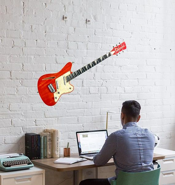 Life size guitar sticker for wall. 94 Surfcaster. High quality