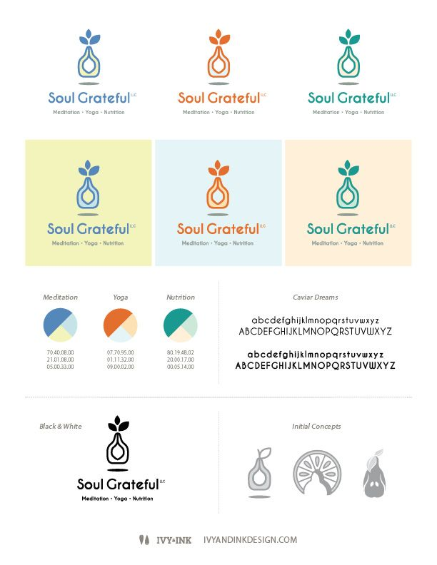 Logo design for Soul Grateful, LLC. Colorful logo suite for health and wellness company offering nutrition counseling and yoga and meditation training.