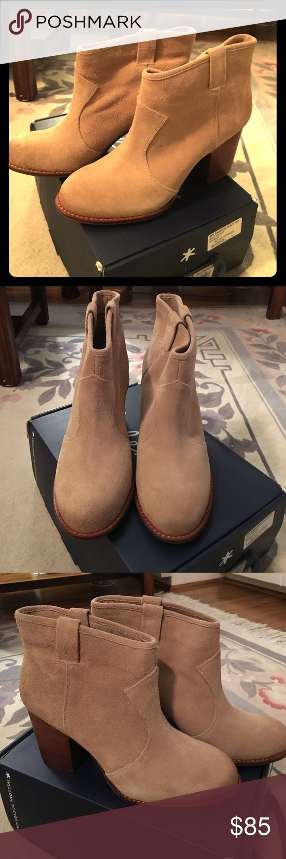 """Splendid Lakota Bootie Low chunky heeled bootie comfortable for all day wear in """"Nut"""" suede. They're perfect for work or brunch with the girls! These have never been worn (realized after the fact that I needed a half size larger)! Splendid Shoes Ankle Boots & Booties"""