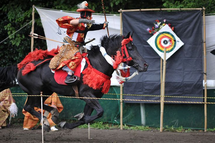 Yabusame is the ritual practice of mounted archery, an old samurai training practice which today involves riding down a narrow lane attempting to hit three targets with a Japanese bow and arrow. In the old days this was a useful practice for war but after Japan gained stability under the shogun, yabusame has had a more ritual than practical meaning.