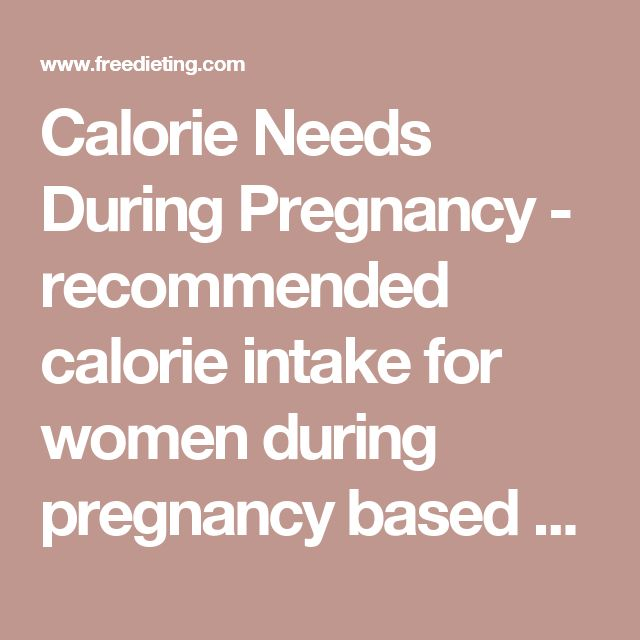 Calorie Needs During Pregnancy - recommended calorie intake for women during pregnancy based on weekly exercise and pre-pregnancy weight