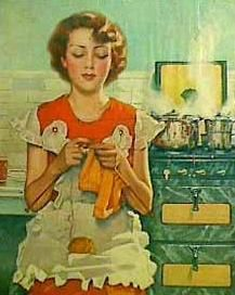 Knitting ~ 1930s. Ha, wonder what she's dreaming of as the pots bubble and burn!