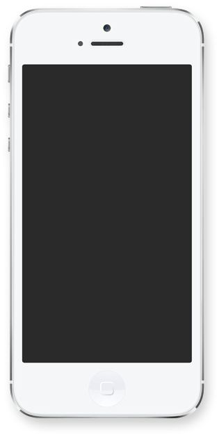 White iPhone 5 with blank screen from apple.com.
