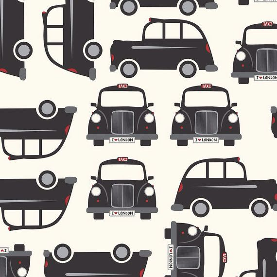 Fitted Crib Sheet, Black London taxi custom print. Available by request: boppy cover, changing pad, crib skirt, pillow, valance