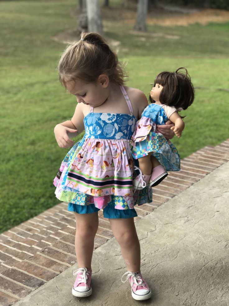 Me and my doll!  This little cutie is wearing her Matilda Jane Hopscotch Elli, and her doll is wearing the mylittlepoppyseed version of this dress  #etsyseller #mylittlepoppyseed #m2mmatildajane #meandmydoll #mydollandme #handmadedollclothes