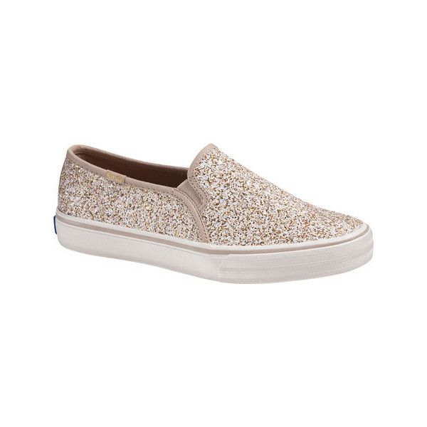 Women's Keds Double Decker Glitter Slip On - Champagne Glitter Casual ($65) ❤ liked on Polyvore featuring shoes, flats, casual, casual shoes, off white shoes, keds footwear, glitter shoes, pull on shoes and champagne flats