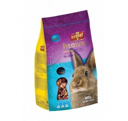 Vitapol Karma pełnoporcjowa Premium dla królika 900 g. Pokarm pełnowartościowy dla królika w opakowaniu z folii.