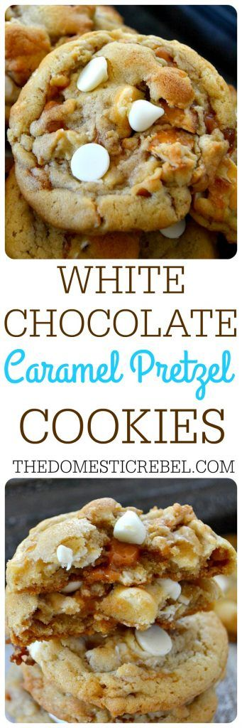 These White Chocolate Caramel Pretzel Cookies are soft & chewy and swirled with crunchy pretzels, gooey caramel & sweet white chocolate! So easy, so impressive and so dang delicious!