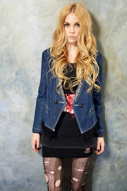 Studs Embellished Front Lace Hem Denim Coat