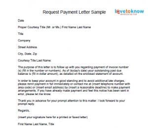 invoice payment request letter
