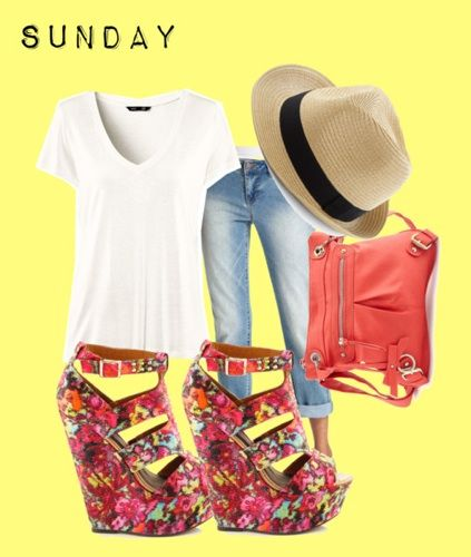 Glam up your plain white tee! Chill out on Sunday with light wash jeans and a totally cute topper