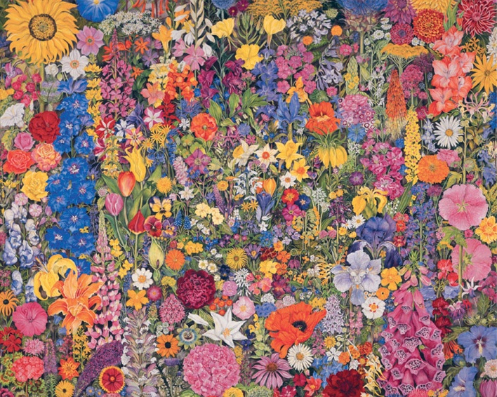 Flower Cycle by Rosalind Wise, Acrylic on canvas, c.1949 | 1,000pc Jigsaw Puzzle by Pomegranate http://www.seriouspuzzles.com/i15220.asp