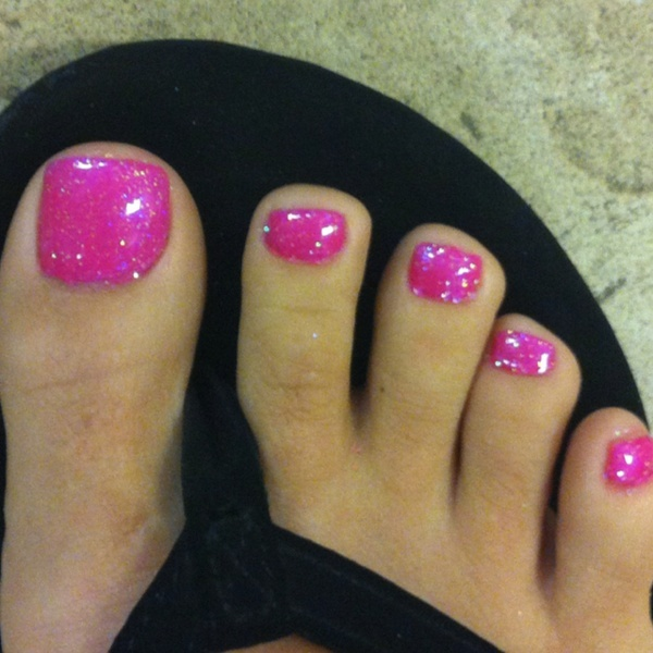My toes done with shellac tutie fruitie and glitter sprinkled on! Love the color!! Looks like I might ask the Easter bunny for some new shellac colors:)