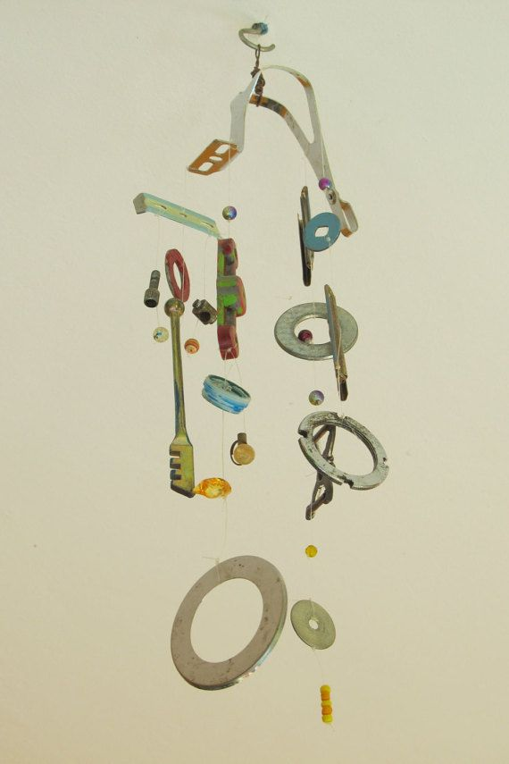 Windchime and Art Mobile Made from Recycled Metal Parts. Repurposed Art For Porch and Home Decor.