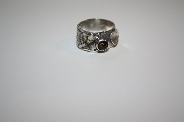 Sterling Silver Ring with a Tiger Eye / jewelry by Debsmetalwork on Etsy