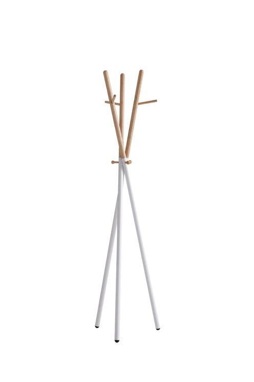 Kapphängare av trä med metall i botten. Höjd 172 cm. Ø i botten 47 cm och i toppen 39 cm. Lev. omonterad. <br><br>