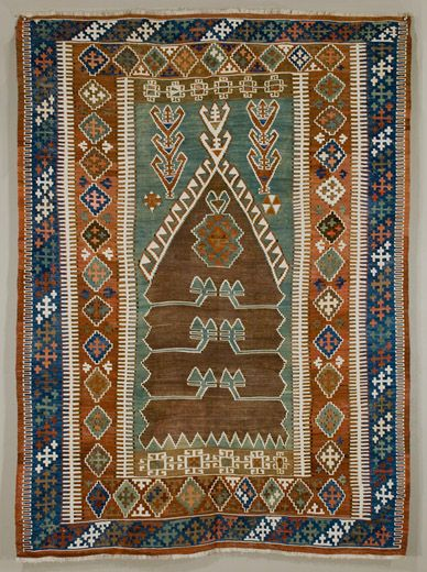 OBRUK (near Bor, in the Niğde province) prayer kilim, mid-19th century. Wool on cotton, slit tapestry. 126 x 168 cm.
